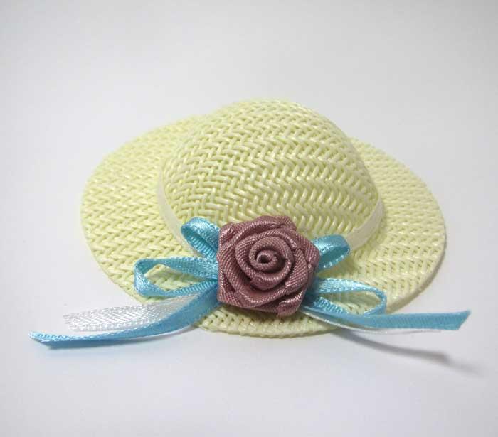 画像1: ブルーバラ付き麦わら帽子・特大
