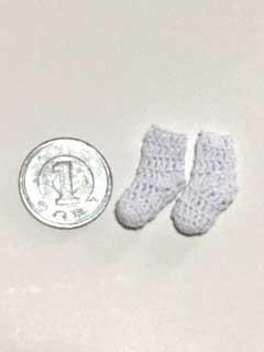 画像3: かぎ針編みのくつ下・白