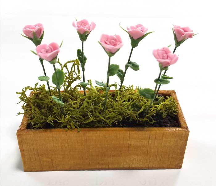 画像1: バラピンク・木製プランター入り
