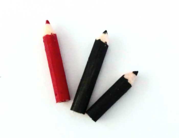 画像1: 黒と赤鉛筆・木製(3本セット)