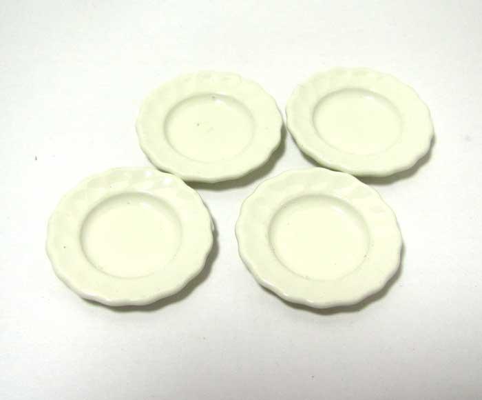 画像1: 金属コーティング皿白4枚セット