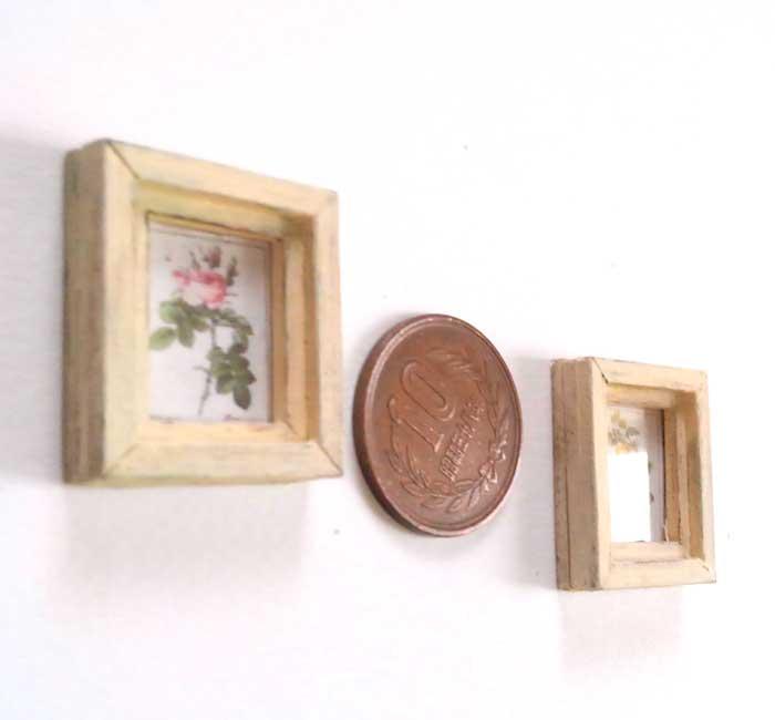 画像2: 薔薇のミニフレーム2個セット(オフホワイト)