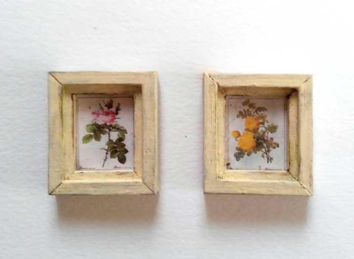 画像1: 薔薇のミニフレーム2個セット(オフホワイト)
