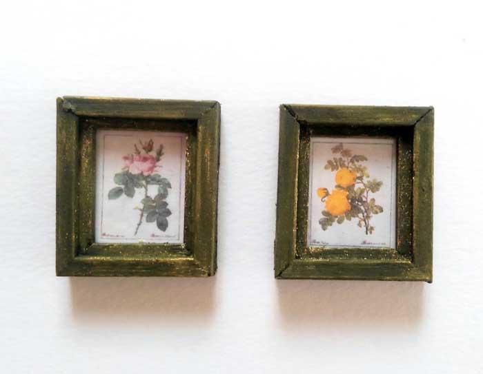 画像1: 薔薇のミニフレーム2個セット(グリーン)