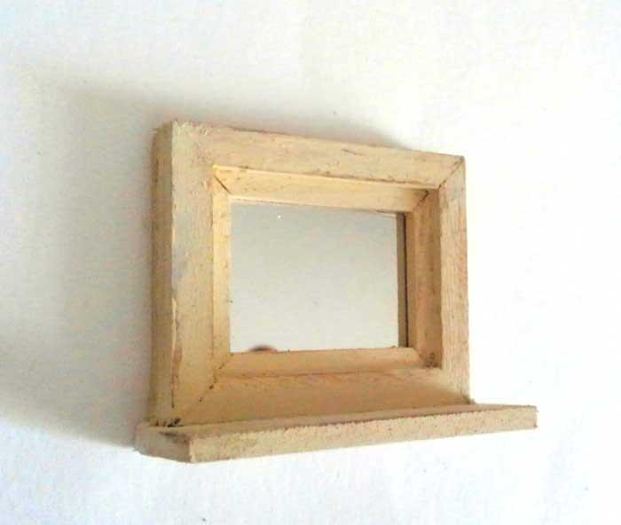 画像1: 小さなミラー(ヨコ型・オフホワイト)