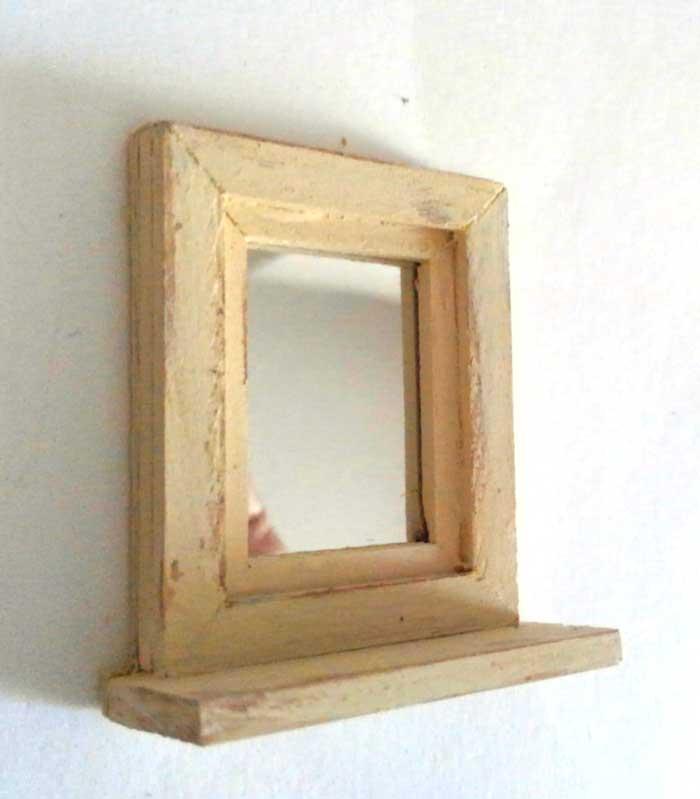 画像1: 小さなミラー(タテ型・オフホワイト)