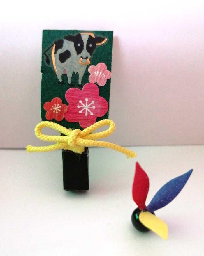 画像1: 羽子板セット(ひも・黄)