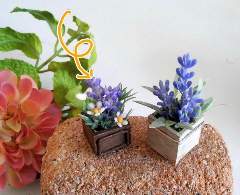 画像4: ウッドボックスの紫色と白い花
