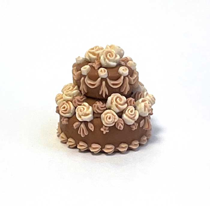 画像1: バラのデコレーションケーキ・2段(チョコ&ホワイト)