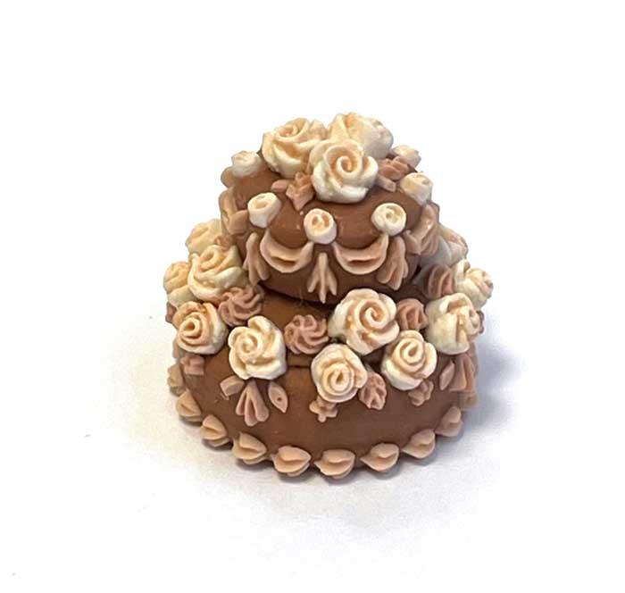 画像2: バラのデコレーションケーキ・2段(チョコ&ホワイト)