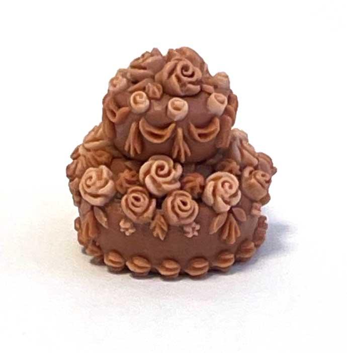 画像1: バラのデコレーションケーキ・2段(チョコ&チョコ)