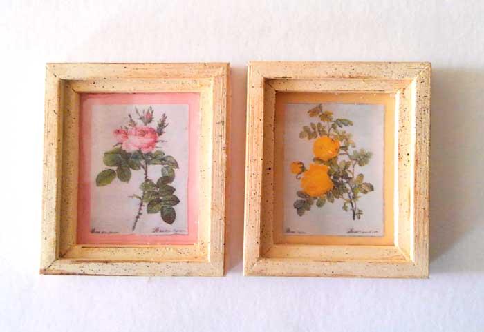 画像1: ピンクと黄色の薔薇のフレーム(オフホワイト)