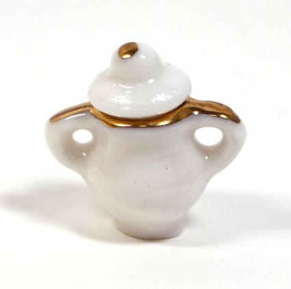 画像1: 陶器ホワイト金縁シュガーポット