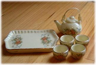 画像1: 急須とお湯のみセット・淡黄花柄