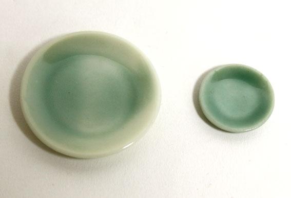 画像1: 陶器皿グリーン・小