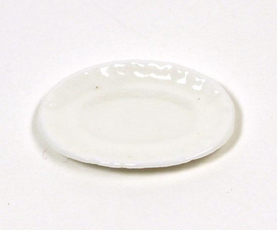 画像1: ホワイト陶器楕円大皿
