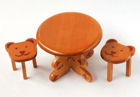 画像1: くまのミニテーブルセット