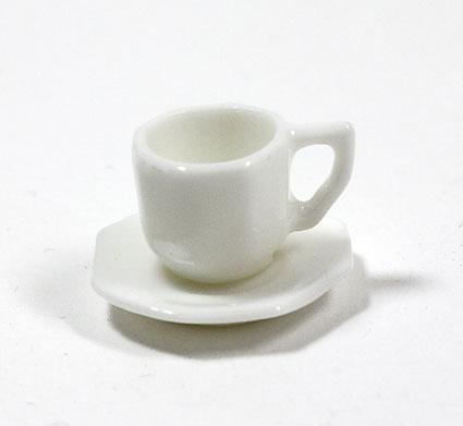 画像1: ホワイト8角コーヒーカップ