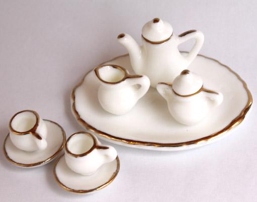画像2: ホワイト金縁ティーセット・大皿付き
