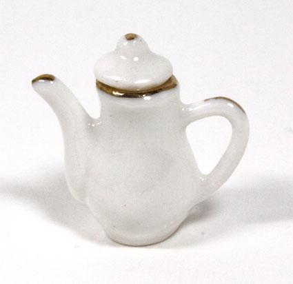 画像1: 陶器ホワイト金縁ポット