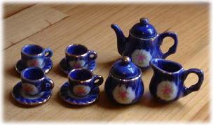画像1: ブルー花柄ティーセット