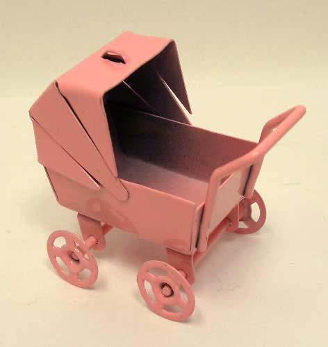 画像1: ミニ乳母車・ピンク