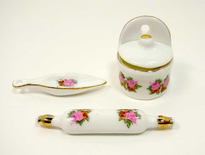 画像1: 陶器花柄キッチンセット(特価)