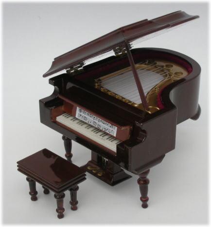 画像1: ミニグランドピアノ・こげ茶ツヤ有り
