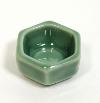 画像1: 六角鉢・グリーン