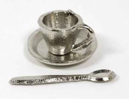 画像1: シルバーコーヒーカップ&スプーン