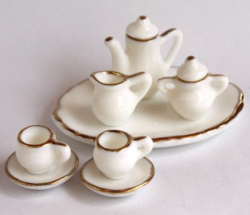 画像1: ホワイト金縁ティーセット・大皿付き