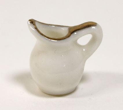 画像1: 陶器ホワイト金縁ミルクピッチャー