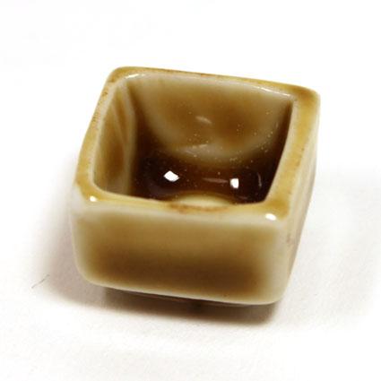 画像1: 陶器四角皿・ライトブラウン