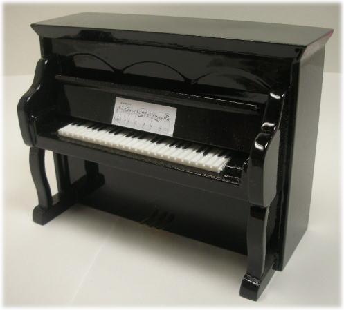 画像1: スタンドピアノ・黒ツヤ有り