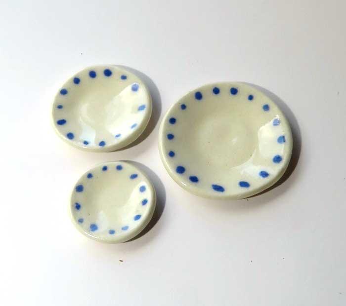 画像1: 水玉皿・青